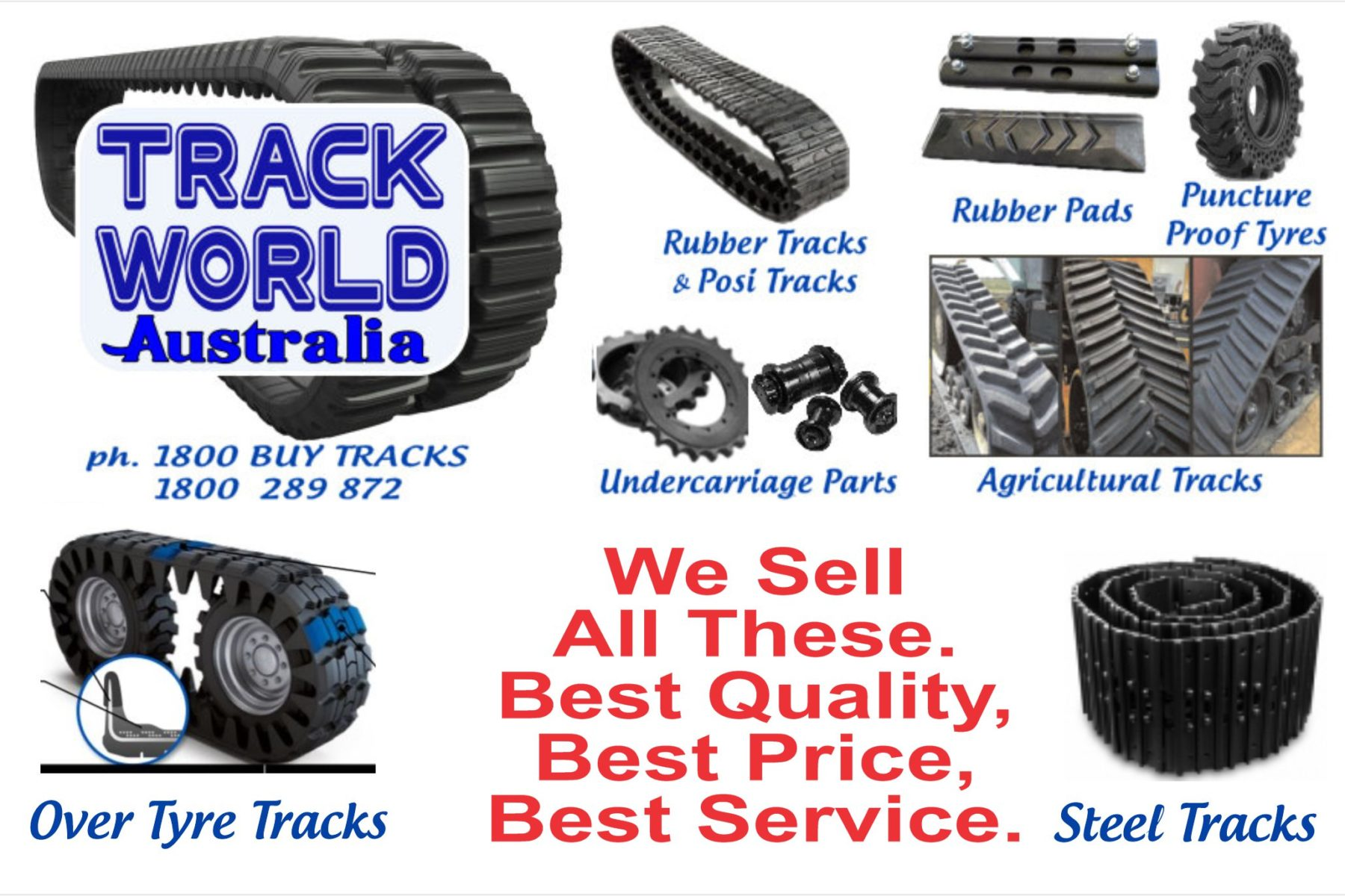 Track World Australia supplies only quality rubber tracks for Ag Tractors, excavators & loaders. We have high quality rubber 'bolt on' & 'clamp on' Pads for steel tracks, puncture-proof tyres for skid steer loaders, over-tyre tracks for skid steer loaders, track loader tracks, posi-track…